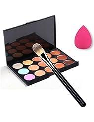 Landons Paleta De 15 Colores De Corrector, Pincel De Maquillaje + Esponja Puff de Maquillaje Paleta De Contorno