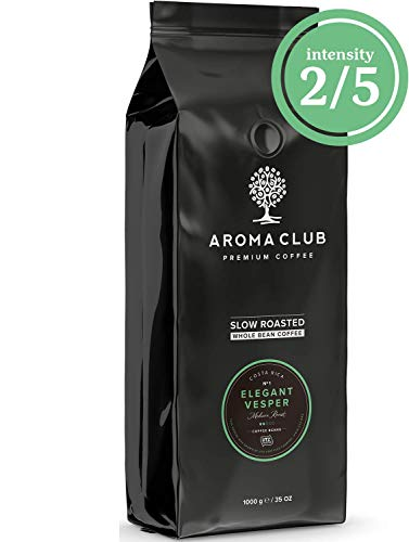 Aroma Club Kaffeebohnen 1 kg - Elegant Vesper Mild röstung - 100% arabica van Costa Rica - Slow Roast - UTZ certified & co2 Neutraal