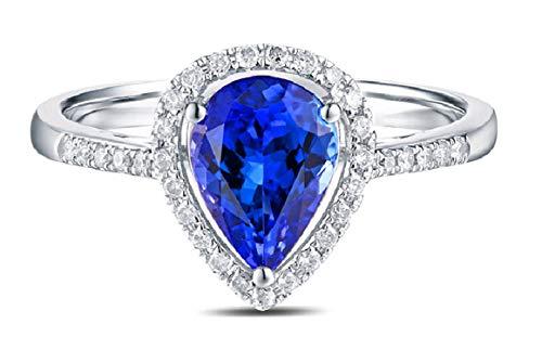 AMDXD 18 Karat Gold Damen Ringe Tropfen Träne Solitärring Diamantring Silber mit Weiß Blau Diamant Tansanit Gr.53 (16.9)