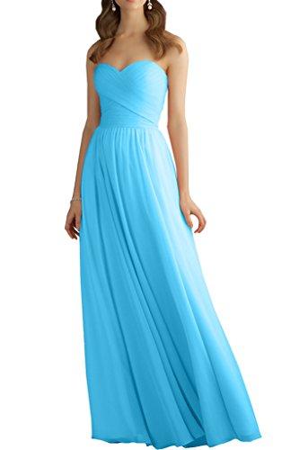 Milano Bride Damen Einfach Herzausschnitt Chiffon Abendkleider Ballkleider Brautjungfernkleider A-linie Neu Blau