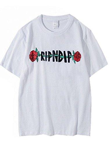 BOMOVO Herren RIPNDIP Oversize T-Shirt Rundhals Basic Shirt LN6281 Weiß