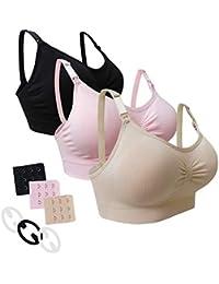 Desirelove Sujetador de Lactancia Maternidad 1 and 3 Pack Sujetadores sin Costuras con Almohadillas de prevención de derrames Removibles