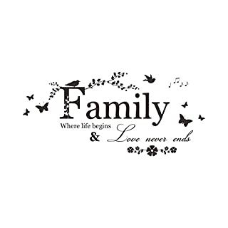 Wall Quote--Family Where Life Begins Love Never Ends-- Tuopuda Wall Stickers Family Quote Words Wall Saying Decal Art Decoration Sticker Home Decor Mural