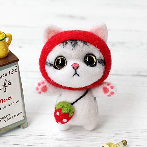 Manyo DIY Kit de fieltro a la aguja conjunto de muñecas gato Mignon