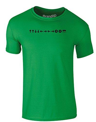 Brand88 - Konami Code, Erwachsene Gedrucktes T-Shirt Grün/Schwarz