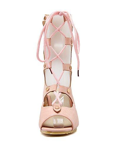 UWSZZ IL Sandali eleganti comfort Scarpe Donna-Sandali-Casual-Zeppe / Spuntate-Zeppa-Finta pelle-Nero / Rosa / Beige / Tessuto almond beige