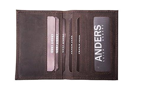 Petit étui pour cartes de crédit, cartes de visite, étui en cuir de buffle (marron)