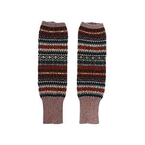 TENDYCOCO Beinlinge Stiefel Socken Kniehohe Böhmen Winter gestrickte Stiefel Gamaschen Fußwärmer