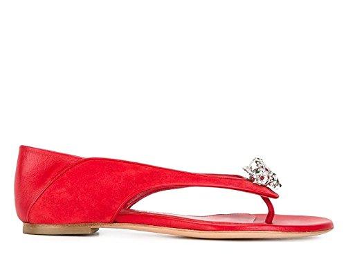 Sandales tongs plate Alexander McQueen en peau rouge - Code modèle: 462274 WHI6C Rouge