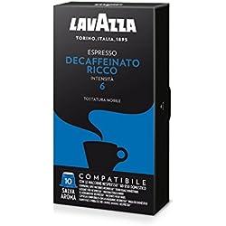 Lavazza Cápsulas de café Compatible con Nespresso, Decaffeinato, 10 paquetes de 10 cápsulas (50 gr), Total 500 gr(100 cápsulas)