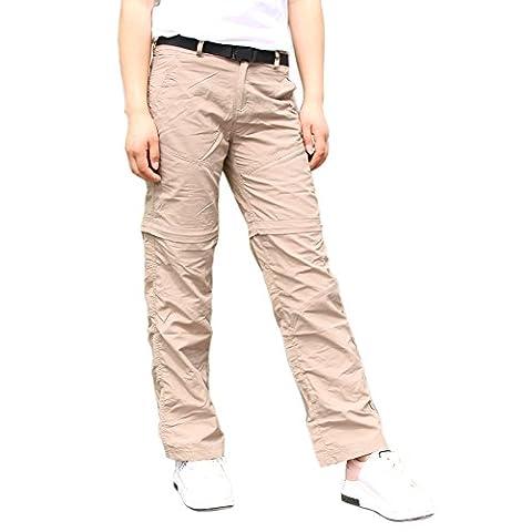 Lanbaosi Pantalon de Randonnée Convertible Femme Pantalons Extérieure Imperméable Kaki