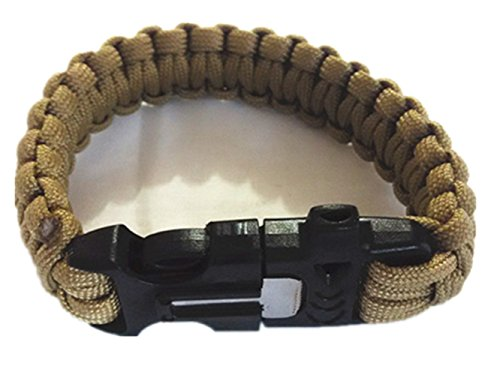 Army Fans Zubehör Outdoor Notfall Fallschirm Schnur Überleben Armband mit Lifesaving Pfeife Flintstones (tan) (Nylon-armband Tan)