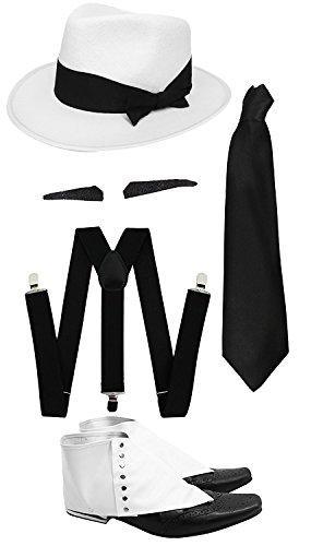 1920er Kostüm Prohibition - ILOVEFANCYDRESS Gangster Kostüm der 1920er Reihe -Zubehör Set Deluxe -Schwarze Hosenträger + Schwarze Krawatte + Schwarzer Spiv/Schnurrbart + Gamaschen + Weißer-Hut