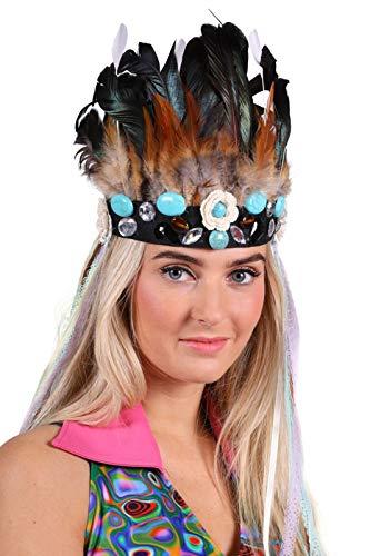 Stirnband Hippie Damen Indianer-Kopfband mit Federn und Deko-Steinchen Luxus Deluxe Hochwertiges Kostüm-Zubehör Party-Accessoire Karneval Fasching Fastnacht Mottopartys Einheitsgröße Blau (Deutsche Klammern Kostüm)
