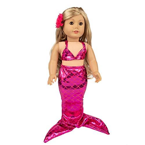 18 Kostüm Für Puppen - DingLong 18 Inch Doll Badeanzug Set Meerjungfrau Kostüme, Süße Mädchen Spielzeug für 18 Zoll Puppe Zubehör Spielzeug (Rot)