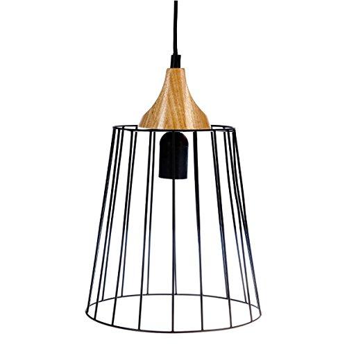 Lampadario a sospensione in fil di metallo e legno - Diametro 23 cm - Stile vintage - Colore: NERO e LEGNO
