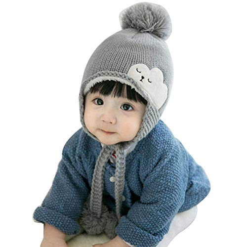 iSpchen Kinder babyHut,Winter Warm Gestrickt Ball Motorhaube Thermal Süß Vlies Futter Verdicken Wolle Ohrenklappen Schnee Draussen Mädchen Junge Grau (Wolle Motorhaube)
