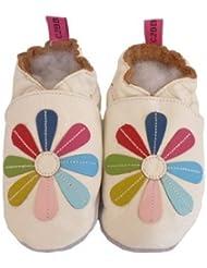 C2BB - Chaussons bébé cuir souple fille   Marguerite multicolore