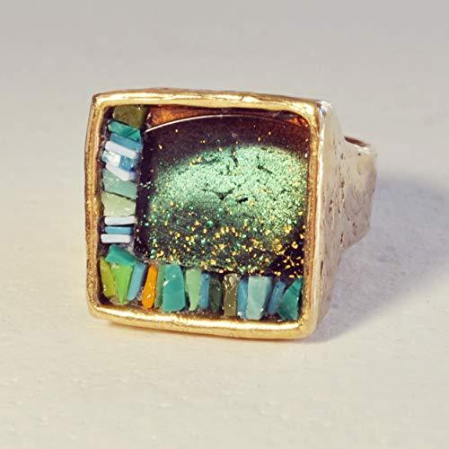 "Bronze Woman Ring, Blue VenetianSmalti mosaic,""Quadretti"" collection, size N(13)"