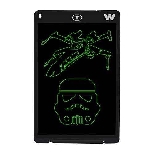 Woxter Smart Pad 120 Elektronisches Whiteboard, 12 Zoll (30,5 cm) LCD-Display, grüner Farbton, Drucksensor (10-200 g), Batterie CR2025, mit Lineal und Maus-Pad, Schwarz