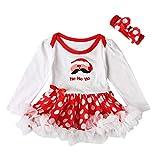 Anguang Langarm Weihnachten Bodysuit Strampler Spitzenkleid Säugling Baby Mädchen Karnevalskostüme Set 2Pcs Mit Stirnband (Weiß#4, Größe 80)