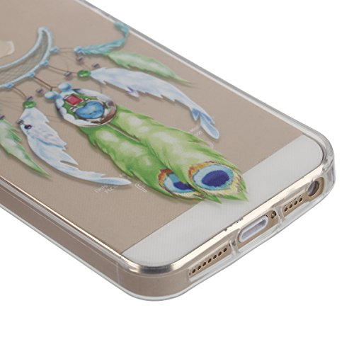 Apple iphone SE Transparent Silikon Case,iphone 5s hülle,Ekakashop Ultra dünn Slim Durchsichtig Transparente Muster Crystal Gel Silikon TPU Motiv Bumper Cas Schutzhülle Etui Tasche Cover Schutz Hüllen Mond Campanula