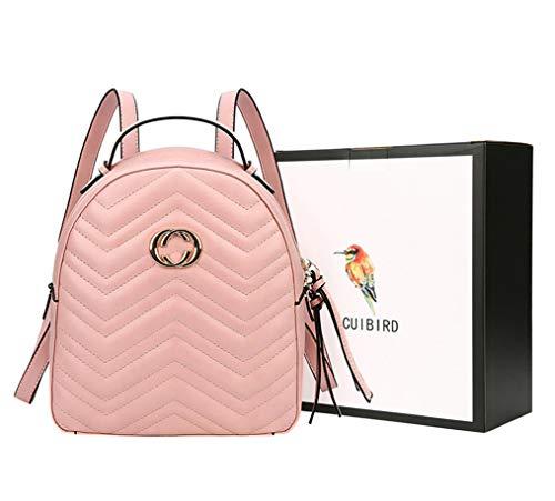 CUIBIRD Elegant Damen Rucksack Mädchen Tagesrucksack Einfarbig Lederrucksack Mode Frauen Taschen Schule Klein Rucksäcke Lässig Daypacks für 9.7 Zoll ipad (Rosa)