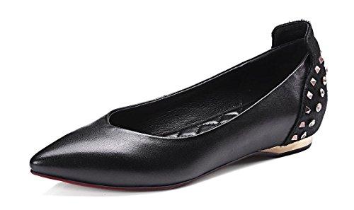 SHIXR Donne scarpette pompe di cuoio Ribattini Shallow Scarpe Bocca Lady tacco basso Brogue Shoes , black , 36