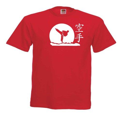 Karate T613 Unisex T-Shirt Textilfarbe: rot, Druckfarbe: weiß