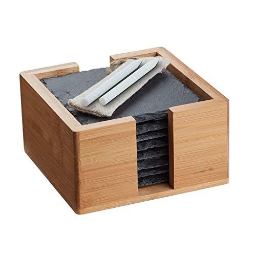 Sir Finley Monkey Schiefer Untersetzer Set (8 Stück) 10x10 cm eckig für Gläser - versiegelte stilvolle quadratische Glasuntersetzer mit Halter aus Bambus