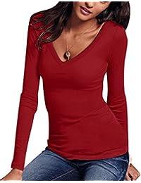 1a5097c2d847e ISSHE Camisetas Ajustadas Cuello V Manga Larga Mujer Camiseta Interior para Dama  Camisas Camisa Top Chica Blusas Bonitas Señora…