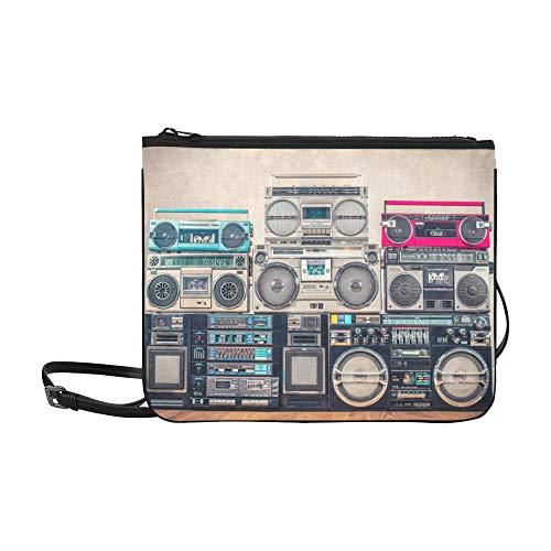 EIJODNL Modello di giradischi grammofono vecchio stile Sacchetto di frizione per borsa a tracolla sottile in nylon di alta qualità su misura