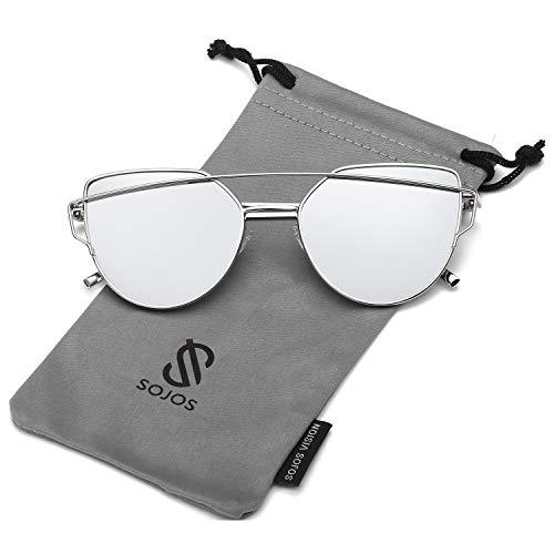 SOJOS Katzenauge Metall Rand Rahmen Damen Frau Mode Sonnenbrille Verspiegelt Linse Women Sunglasses SJ1001 mit Silber Rahmen/Silber Linse