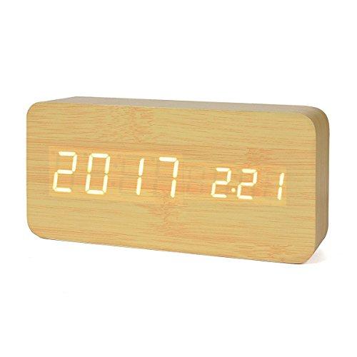 Reloj Digital Despertador de Madera con Control de Sonido y LED Brillo de la Pantalla(Puede mostrar el año, mes, día, hora, minuto y temperatura interior)color amarillo