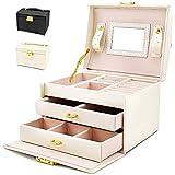 BalladHome Portagioie Scatole per Gioielli Porta Gioielli Beauty Case Salvaspazio Scatola Custodia Box Scatola con Specchio S
