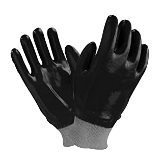 12 pairs, PVC work Glove- Black PVC Rough Finish, Interlock, Knit Wrist (10) by Azusa Safety