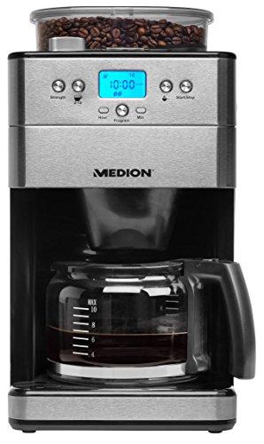 MEDION MD 16893 Kaffeemaschine mit Mahlwerk, 1,25 Liter, 1000 Watt, 9 Mahlstufen, programmbierbarer...