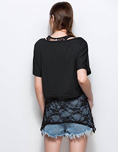 MODETREND Damen Shirt Sommer Spitze Kurzarm TShirt Oberteile Tops Tanktop  Shirt 2PCS Schwarz