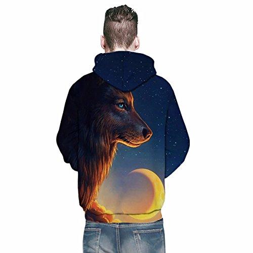 Hoodies Sweat-shirt 3D Imprimer Loup Cordon À Capuche À Manches Longues Casual Jumper Avec Grande Poche Pour Hommes Femmes Couples Photocolor