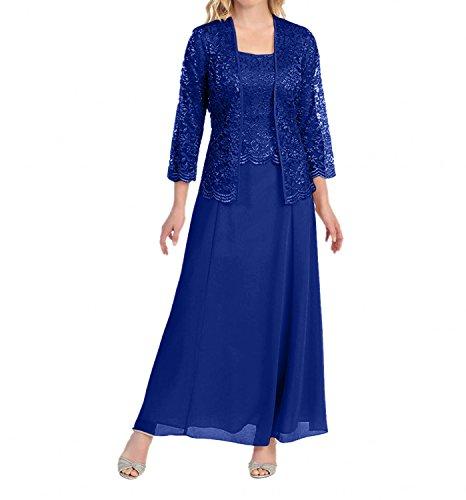 Charmant Damen Grau Spitze Chiffon Brautmutterkleider Abendkleider Promkleider A-Linie Rock Festlichkleider-48 Royal Blau (Blau Royal Rock)
