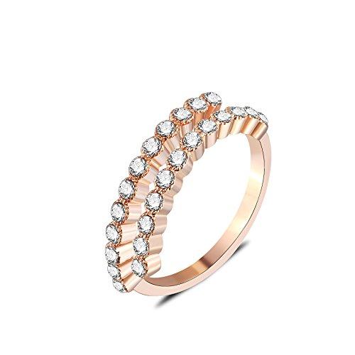 barbie, anello da ragazza e donna, anello in oro bianco e oro rosa, anello moda , anello di squisita fattura #BSJZ079 (Placcato oro rosa, diametro 18.2mm)