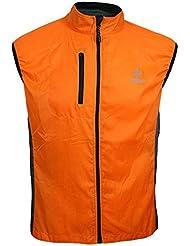 ARSUXEO Hombre Mujer Primavera Otono Ultrafino Correr Ciclismo Chaleco Resistente a Viento Capa sin Mangas Ropa causal impermeable XL naranja
