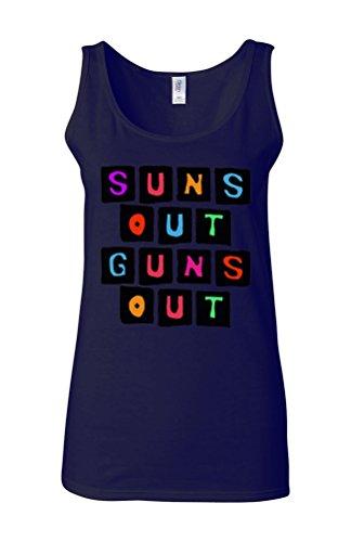 Suns Out Guns Out Gym Muscle Novelty White Femme Women Tricot de Corps Tank Top Vest Bleu Foncé