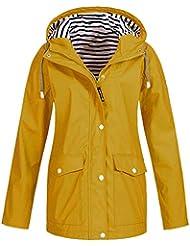 U.Expectating Clothing Womens Rain Jacket Outdoor Hooded Ladies Trench Coats Waterproof Hoody Raincoat for Hiking Skiing Trekking Travelling Windbreaker Mountaineering