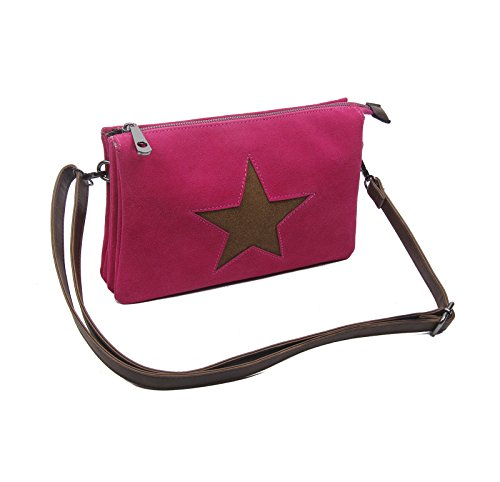 OBC Bags&More, Poschette giorno donna nero Schwarz mit Stern 3xFach Pink mit Stern 3xFach