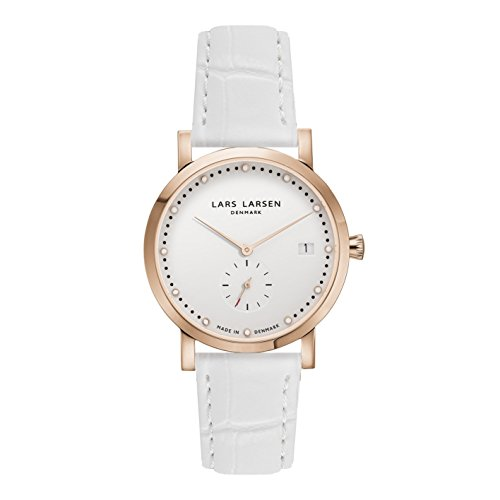 Lars Larsen Emma Women's Quartz Watch with White Dial Analogue Display and White Leather Strap 137RWWL