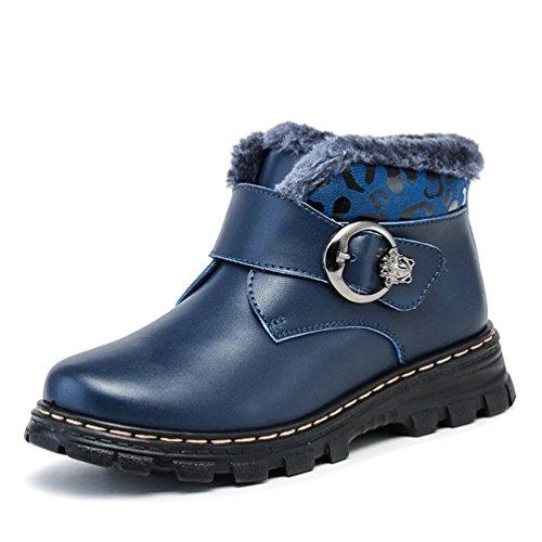 Jovens Martin Botas De Pelúcia Dedo Do Pé Redondo Grossas Botas De Sola De Neve Azul Do Inverno
