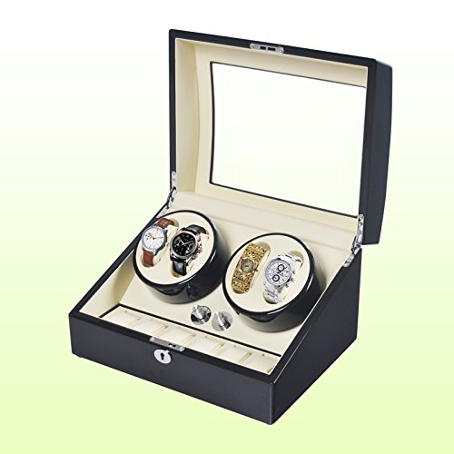 NO.1 WATCH WINDER BEST BUY REVIEW ACEFOX BLACK PIANO WOOD 4 + 6 LEATHER STORAGE WATCH AUTOMATIC WINDER DISPLAY BOX REVIEW