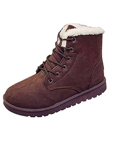 Minetom Donna Autunno Inverno Lace Up Pelliccia Classico Neve Stivali Snow Boots Stivali Cavaliere Scarpe Piatte Marrone EU 39