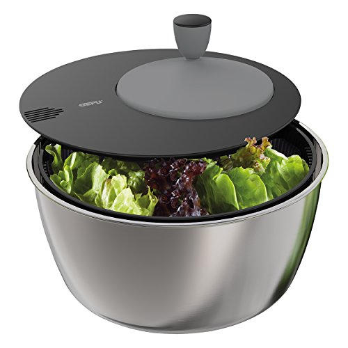 Gefu Salatschleuder Rotare, 3-tlg., Salattrockner, Salatschüssel, Salat Schüssel, Edelstahl, Kunststoff, Ø 25 cm, 28180